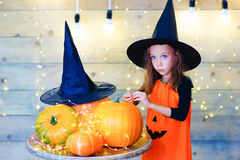 Happy witch children during Halloween party Royalty Free Stock Image