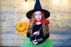 Happy witch children during Halloween party Stock Images
