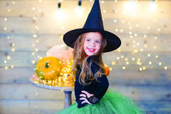 Happy witch children during Halloween party Stock Photos