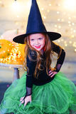 Happy witch children during Halloween party Royalty Free Stock Images