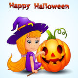 Happy witch and pumpkin cartoon Royalty Free Stock Photos