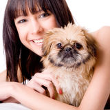 Happy With Her New Dog Stock Photos