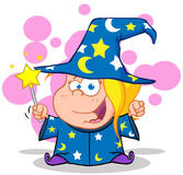 Happy Wizard Girl Waving With Magic Wand Stock Photos