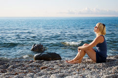 Happy woman. On the beach Royalty Free Stock Images