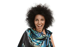 Happy woman. Happy laugh fashion model with african style make-up royalty free stock photos