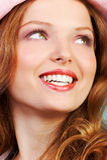 Happy woman. Face stock photo