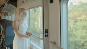 Happy woman admire the view from the window of a moving train stock video footage
