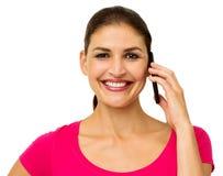 Happy Woman Answering Smart Phone Stock Photos