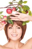 Happy woman with apple twig Stock Images