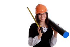 Happy woman architect. With orange hardhat, tube and ruler isolated on white (room for text at left Royalty Free Stock Image