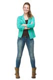 Happy Woman with Arms Crossed Royalty Free Stock Image