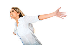Happy woman with arms open Stock Photography
