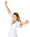 Happy woman with arms up Stock Photo