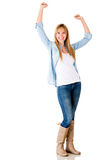 Happy woman with arms up Royalty Free Stock Images