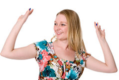 Happy woman with arms up Stock Images