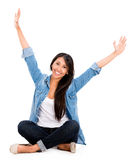 Happy woman with arms up Stock Photos