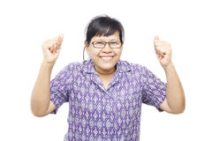 Happy woman. Asia woman with both arms up in air showing jubilation, isolated on white stock images