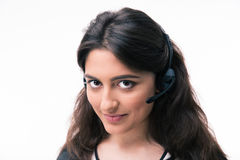 Happy woman assistant operator with headphones Stock Photo