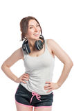 Happy woman athlete with headphones Stock Images