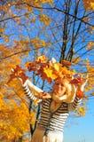 Happy woman  with autumn leav Stock Photo