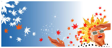 Happy woman with autumn leaves hair in retro style. Happy woman with autumn leaves hair smiling and looking up at sun. Retro style royalty free illustration