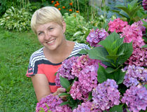 The happy woman of average years near a blossoming hydrangea Stock Images