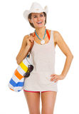 Happy woman with bag looking on copy space Stock Photography