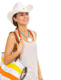 Happy woman with bag looking on copy space Royalty Free Stock Photo
