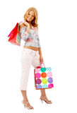 Happy woman with bags Stock Images