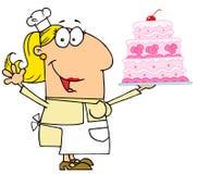 Happy woman baker Royalty Free Stock Image