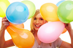 Happy woman with balloons Royalty Free Stock Photo