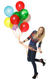 Happy woman with balloons Royalty Free Stock Image