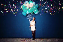 Happy Woman, Balloons and Confetti on Blue Banner Stock Photography
