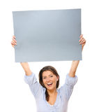 Happy woman with a banner Royalty Free Stock Images