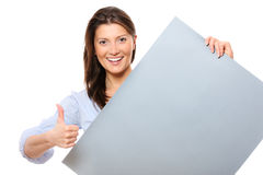 Happy woman with a banner stock photos