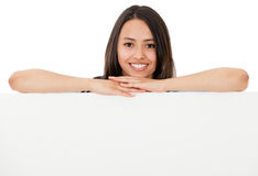 Happy woman with banner Stock Photos
