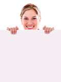 Happy woman with a banner Royalty Free Stock Image