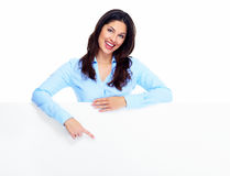 Happy woman with banner. Stock Photography