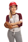 Happy woman with a baseball and a glove Royalty Free Stock Photography
