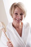 Happy Woman With Bathbrush. Happy beautiful Woman With Bathbrush Royalty Free Stock Image