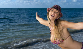Happy woman in the beach Royalty Free Stock Photo