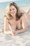 Happy woman in the beach Royalty Free Stock Image