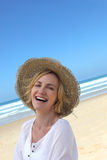 Happy woman at the beach Royalty Free Stock Photos