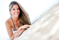 Happy woman at the beach Royalty Free Stock Photo