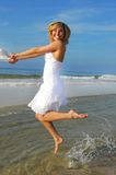 Happy woman at beach Stock Photo