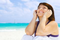 Happy woman on the beach Royalty Free Stock Images