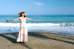 Happy Woman Beach Arms Outstretched Stock Photos