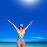 Happy woman on beach Stock Photography