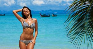 Happy woman on beach Stock Photography