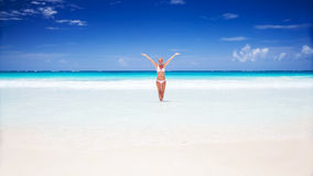 Happy woman on the beach royalty free stock photo